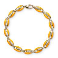 *PRE-ORDER* Melissa Kaye 18K Yellow Gold Ada Diamond Link and Neon Orange Enamel Bracelet