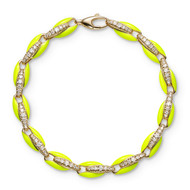 *PRE-ORDER* Melissa Kaye 18K Yellow Gold Ada Diamond Link and Neon Yellow Enamel Bracelet