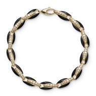 *PRE-ORDER* Melissa Kaye 18K Yellow Gold Ada Diamond Link and Black Enamel Bracelet