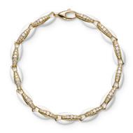 *PRE-ORDER* Melissa Kaye 18K Yellow Gold Ada Diamond Link and White Enamel Bracelet