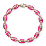 *PRE-ORDER* Melissa Kaye 18K Pink Gold Ada Diamond Link and Neon Pink Enamel Bracelet