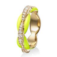 *PRE-ORDER* Melissa Kaye 18K Yellow Gold Ada Diamond and Neon Yellow Enamel Ring
