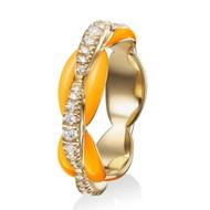*PRE-ORDER* Melissa Kaye 18K Yellow Gold Ada Diamond and Neon Orange Enamel Ring