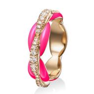 *PRE-ORDER* Melissa Kaye 18K Pink Gold Ada Diamond and Neon Pink Enamel Ring