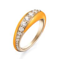*PRE-ORDER* Melissa Kaye 18K Yellow Gold Small Remi Diamond and Neon Orange Enamel Ring
