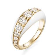*PRE-ORDER* Melissa Kaye 18K Yellow Gold Remi Diamond and White Enamel Ring