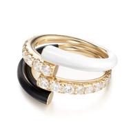 *PRE-ORDER* Melissa Kaye 18K Yellow Gold Lola Double Diamond and Black/White Enamel Ring