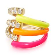 *PRE-ORDER* Melissa Kaye 18K Yellow Gold Lola Triple Diamond and Neon Yellow/Orange/Pink Enamel Ring