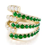 *PRE-ORDER* Melissa Kaye 18K Yellow Gold Lola Triple Diamond and Tsavorite Garnet Ring