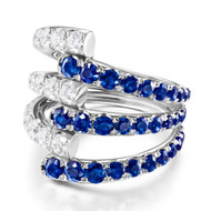 *PRE-ORDER* Melissa Kaye 18K White Gold Lola Triple Diamond and Blue Sapphire Ring