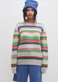 The Elder Statesman Pace Stripe Crewneck Sweater
