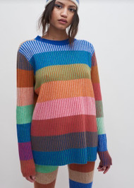 The Elder Statesman Yatzy Stripe Crewneck Sweater