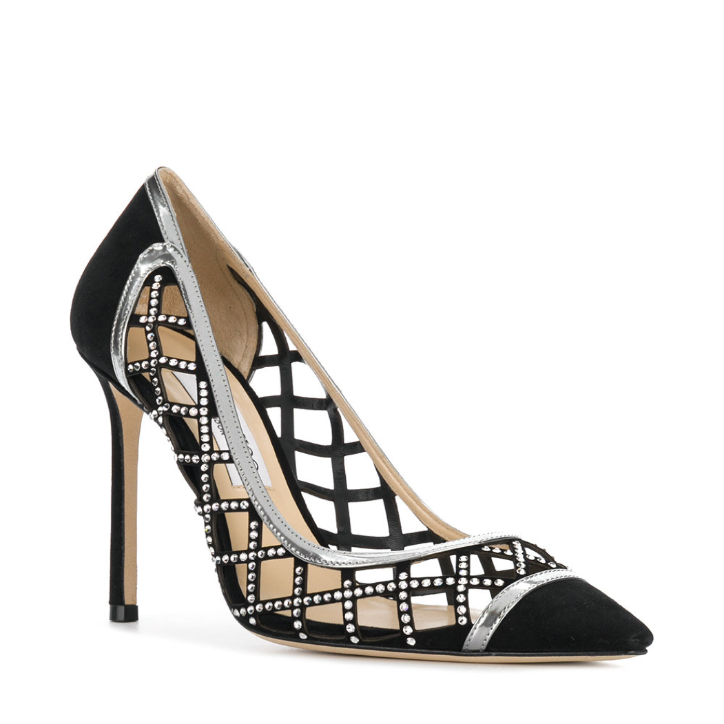2c7b0b8863c Jimmy Choo Romy Black Suede Cut-Out Diamond Pump (Romy - Diamond Cut-Out)