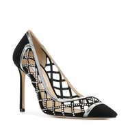 Jimmy Choo Romy Black Suede Cut-Out Diamond Pump