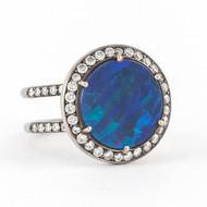 *TRUNK SHOW* Sylva & Cie. 18K White Gold Round Australian Opal Diamond Ring