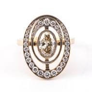 *TRUNK SHOW* Sylva & Cie. 18K Yellow Gold Small Orbit Oval Diamond Ring, Size 7