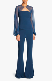Cushnie Chiffon Top and High Waisted Flare Pants in Ocean (Two Piece Set)