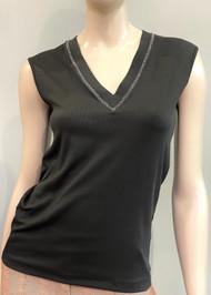 Fabiana Filippi V-Neck Metallic Stitch Cotton Tank in Black