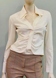 Chiara Boni La Petite Robe Shohreh Ruched Top in Cream