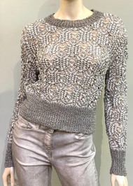 Fabiana Filippi Open Stitch Crewneck Sweater in Silver