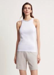 Fabiana Filippi Jersey Embellished Sleeveless Top in White