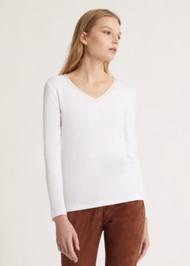 Fabiana Filippi Jersey Top with Satin Neckline Embellishment in White