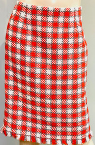 Oscar de la Renta Tweed Pencil Skirt in Ivory/Scarlet