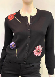 Oscar de la Renta Floral Embroidered Cardigan in Black