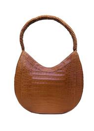 Nancy Gonzalez Braided Handle Bag in Matte Cognac