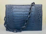 *PRE-ORDER* Nancy Gonzalez Chain Link Shoulder Bag in Shiny Charcoal