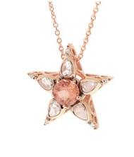 Selim Mouzannar Istanbul Star Pendant in 18K Pink Gold Set with Diamonds and Peach Tourmaline