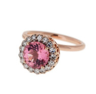 Selim Mouzannar Beirut Ring in 18K Pink Gold Set with Diamonds and Pink Tourmaline, Size 6