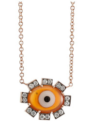 *TRUNK SHOW* Sylva & Cie. 14K Rose Gold Agate Evil Eye Pendant Diamond Chain Necklace