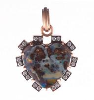 *TRUNK SHOW* Sylva & Cie. 14K Rose Gold Opal Heart Diamond Pendant
