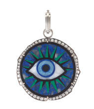 *TRUNK SHOW* Sylva & Cie. 18K White Gold Lapis Eye Diamond Pendant