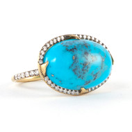 *PRE-ORDER* Sylva & Cie. 18K Yellow Gold Turquoise East West Ring