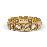 *TRUNK SHOW* Sylva & Cie. 14K Yellow Gold Flower Octagon Diamond Stack Band Ring, Size 6.5