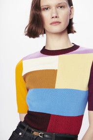 Victoria Beckham Patchwork Knitted Top in Multicolor
