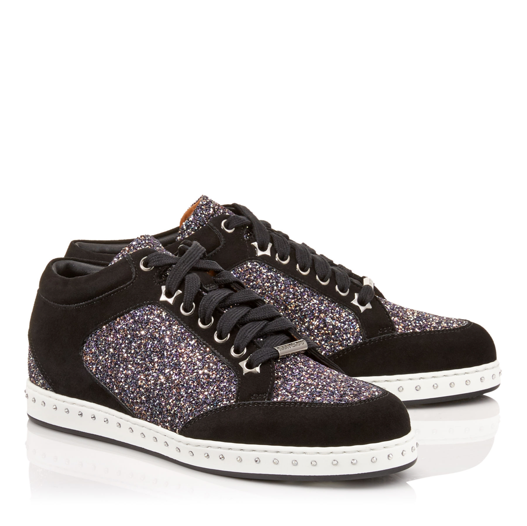 c8776609ba2a Jimmy Choo Miami Black Twilight Glitter Sneaker (Miami - Twilight)