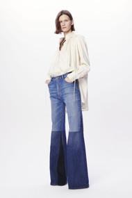 Victoria Beckham Patchwork Flare Jeans in Washed Indigo