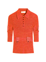 Victoria Beckham Military Rib Polo Shirt in Red Mouline