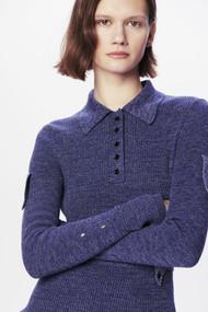 Victoria Beckham Military Rib Polo Shirt in Denim Mouline