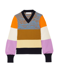 Victoria Beckham Patchwork Knitted V-Neck Sweater in Multicolor