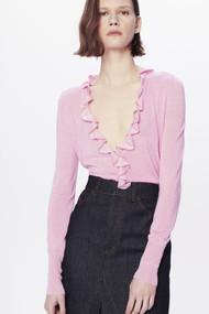Victoria Beckham Fluid Melange Frill Detail Cardigan in Pink