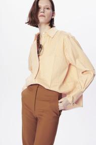 Victoria Beckham Classic Men's Cotton Stripe Shirt in Dijon/White