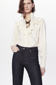 Victoria Beckham Victoriana Ruffle-Detail Blouse in Off-White