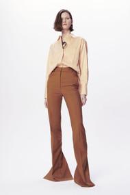 Victoria Beckham Split Hem Straight Leg Trousers in Tobacco