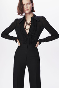 Victoria Beckham 70's Frill Detail Blouse in Black