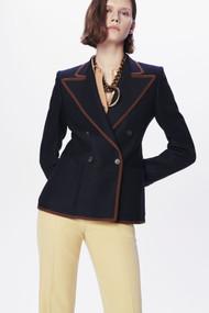 Victoria Beckham 70's Collar Double Breasted Blazer in Dark Navy