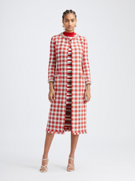 Oscar de la Renta Scarlet Check Tweed Coat